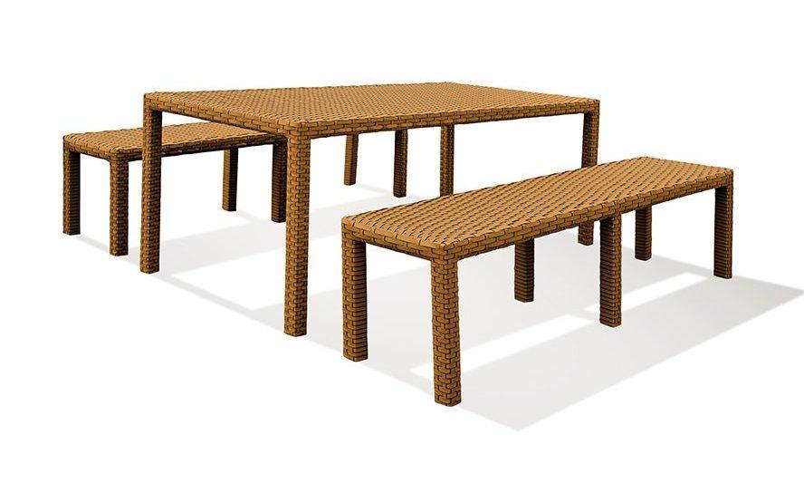Conjunto 1 mesa de 2 bancos Domus retangular, em fibra