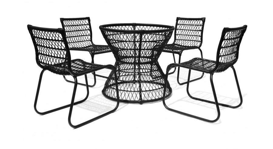 Conjunto 1 base de mesa e 4 cadeiras Huelva, em fibra e alumínio