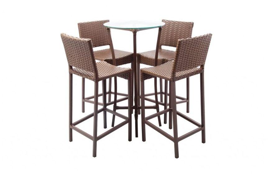 Conjunto 1 mesa bistrô e 4 cadeiras Marrocos Luna, em fibra e alumínio